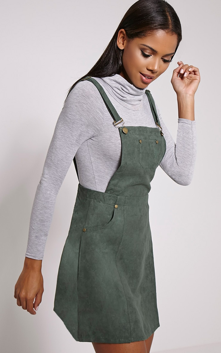 Lumie Khaki Faux Suede Pinafore Dress 4