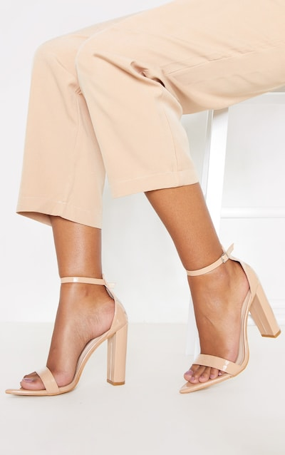 Nude Point Toe Block Heel Strappy Sandal