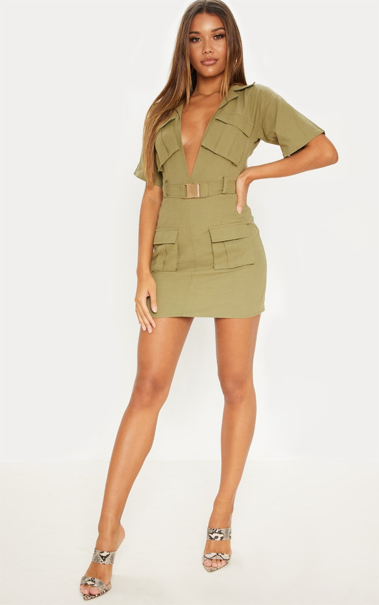 Khaki Cargo Utility Gold Buckle Pocket Detail Bodycon Dress 4