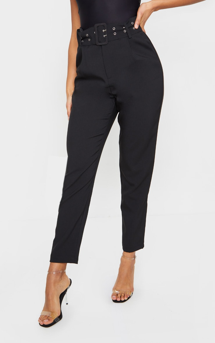 Black Dual Buckle Belted Cigarette Pants 2