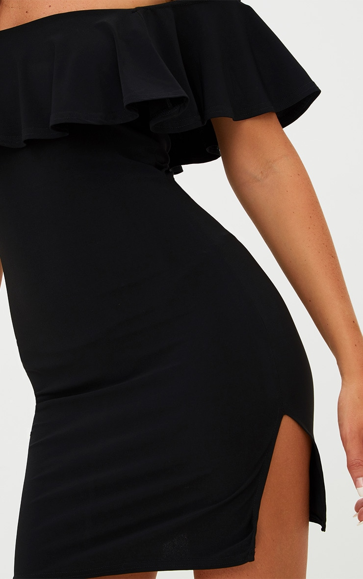 Black Bardot Frill Split Side Bodycon Dress 5