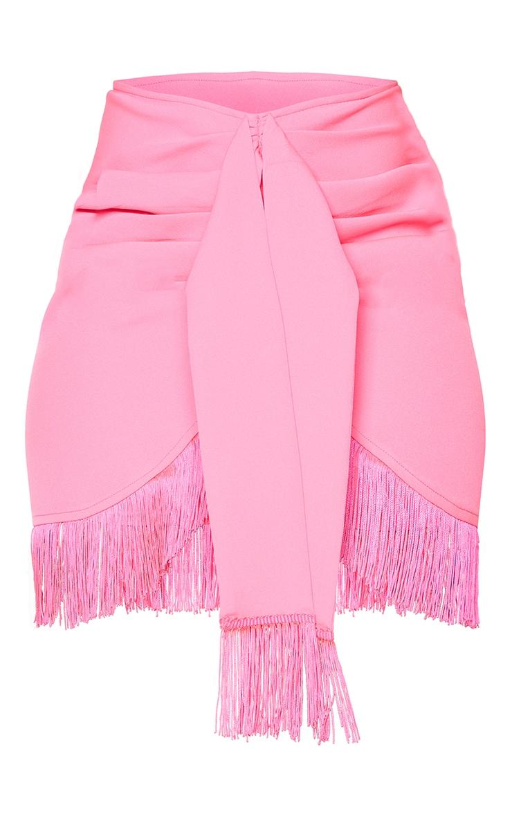 Hot Pink Woven Tassel Tie Waist Wrap Skirt 6