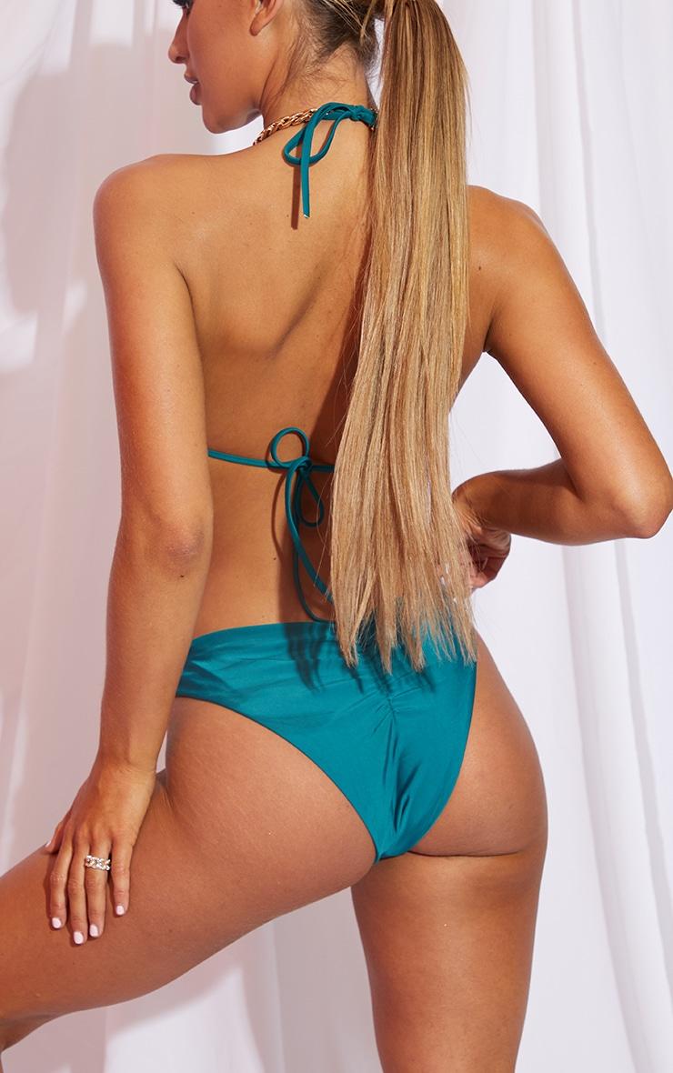 Teal Ruched Front & Back Bikini Bottom 4