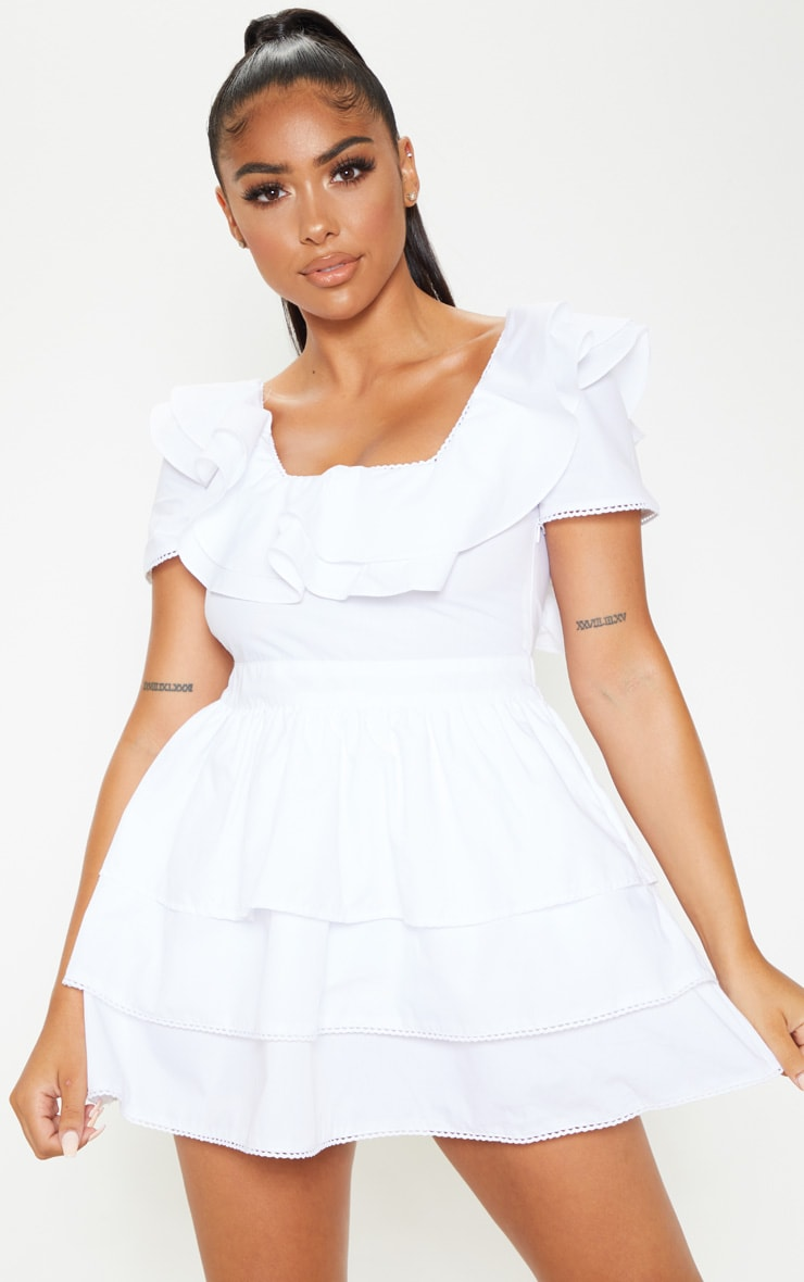 Petite White Square Neck Tiered Frill Dress 1