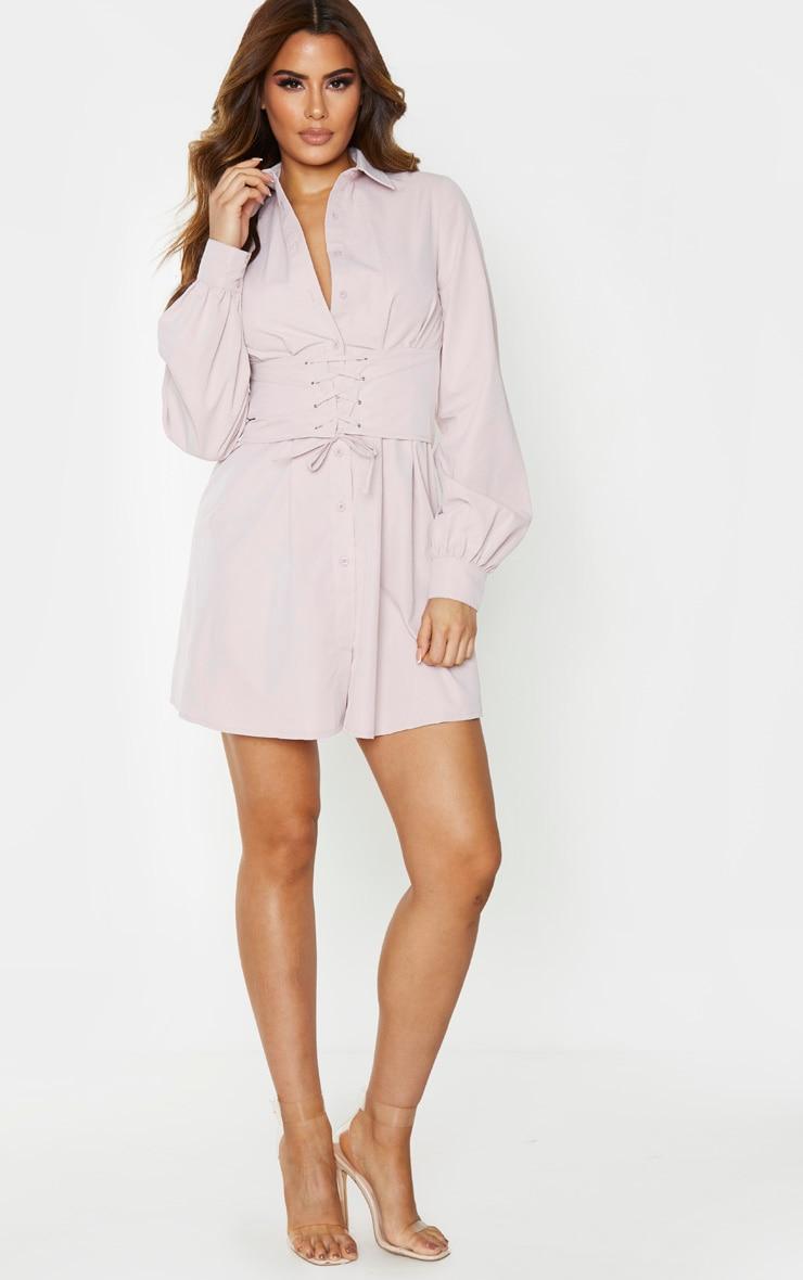 Tall Blush Corset Detail Shirt Dress 4
