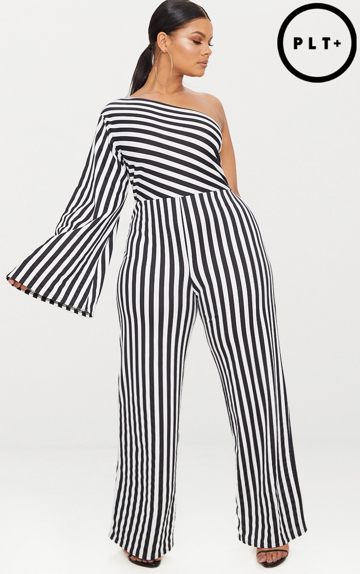 Plus Black Monochrome Stripe One Shoulder Jumpsuit 1