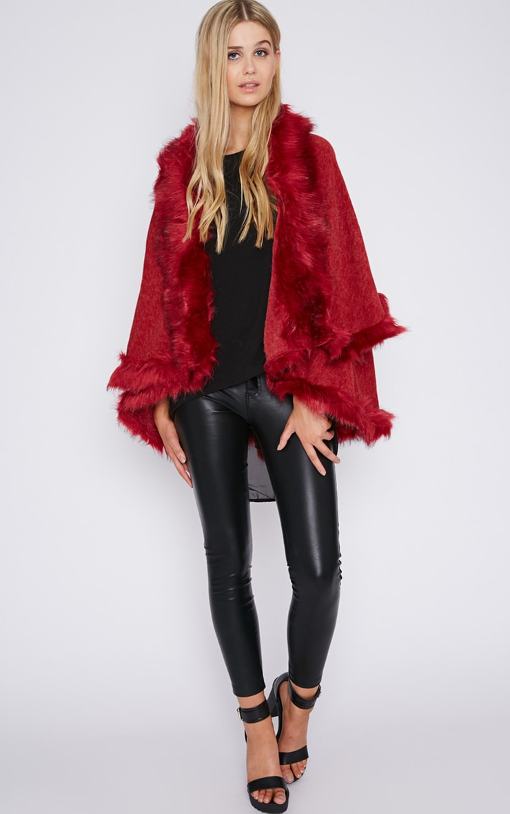 Mada Red Hooded Faux Fur Cape 3