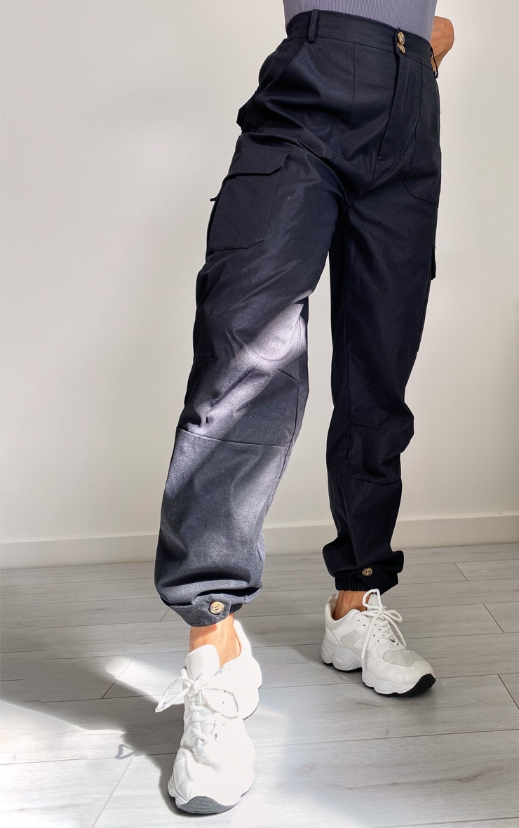 Black Premium Peach Skin Cargo Pants 2