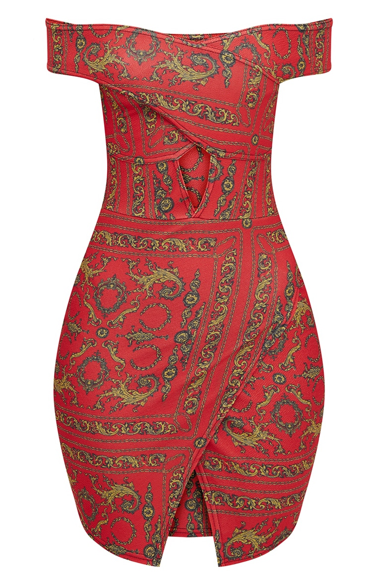 Red Chain Print Bardot Cut Out Front Wrap Skirt Bodycon Dress 3