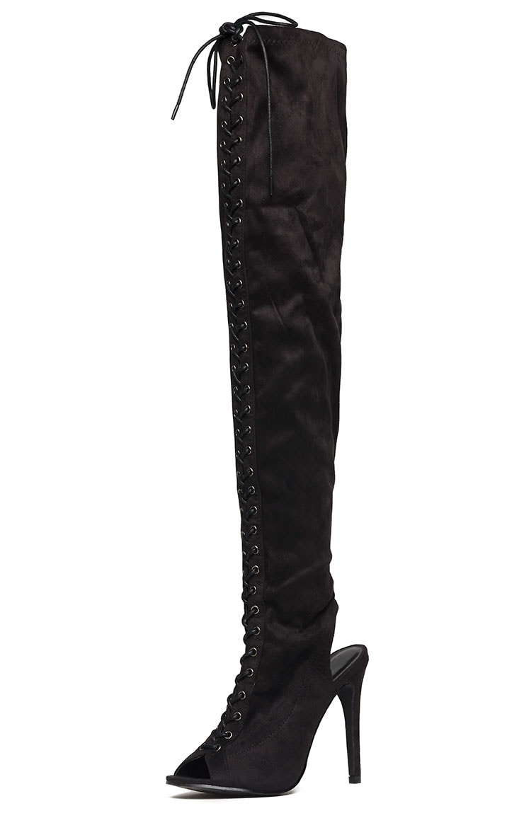 Valentina Black Suede Lace Up Thigh Boots 4