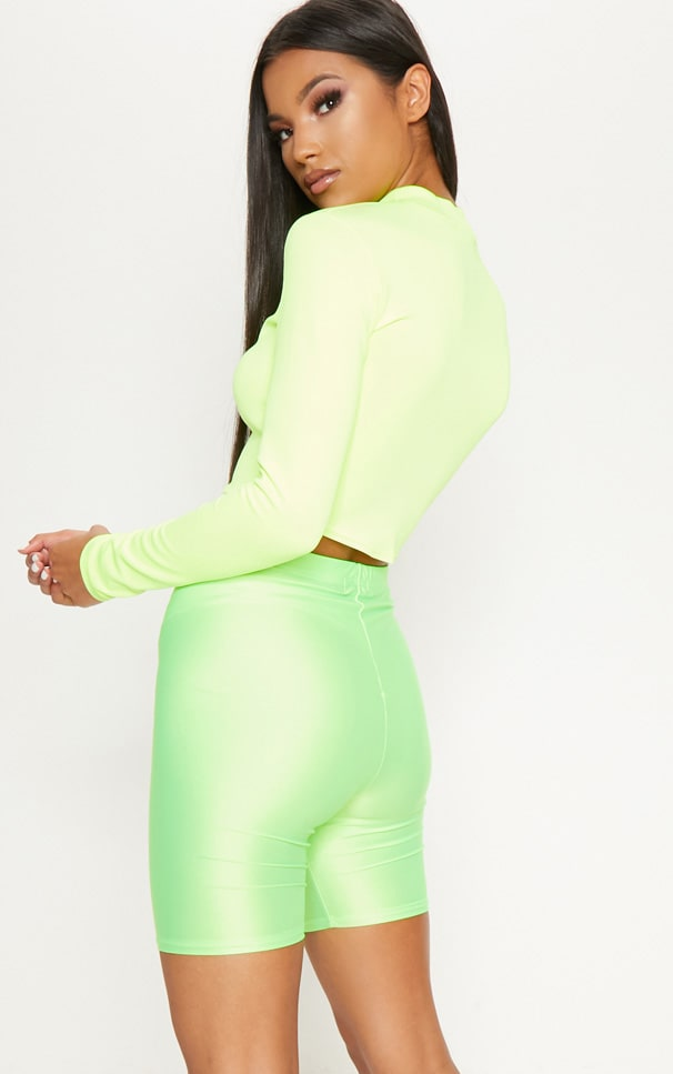 Neon Yellow High Neck Long Sleeve Crop 2