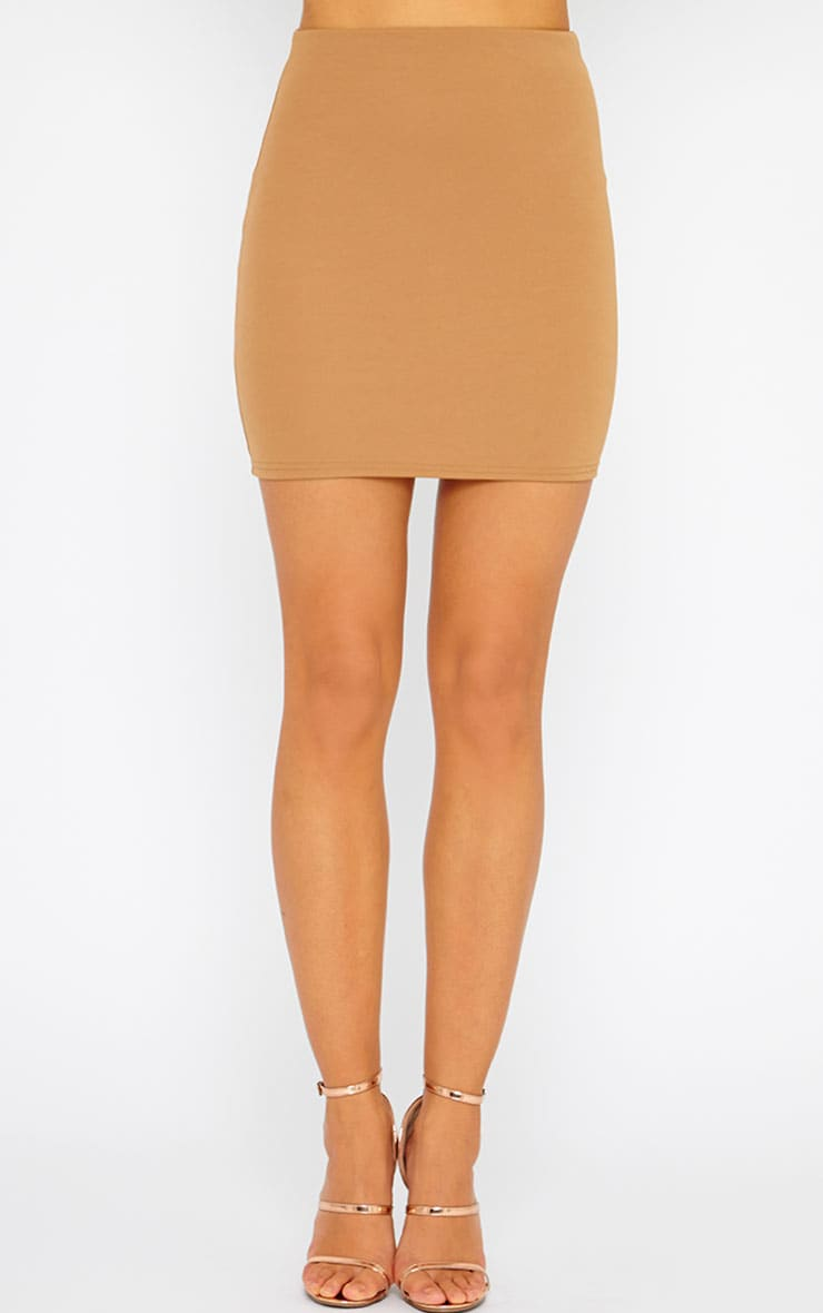Basic Camel Scuba Mini Skirt 2