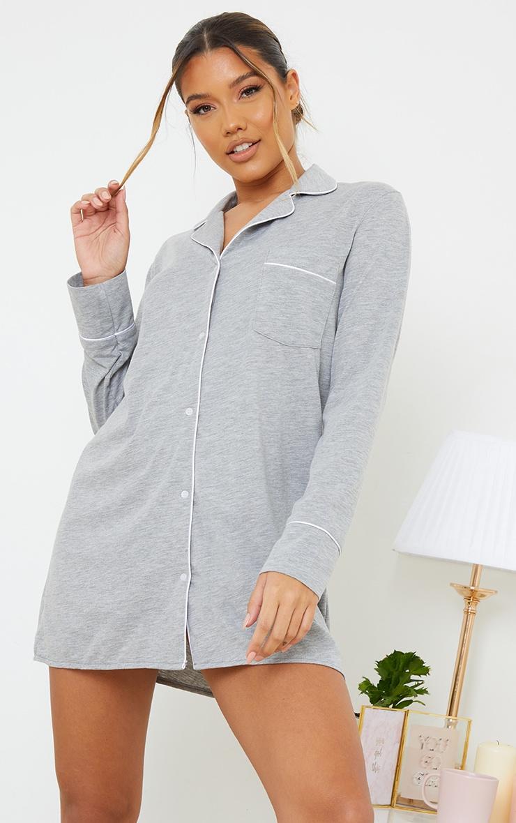 Grey Jersey Button Down Nightshirt 3