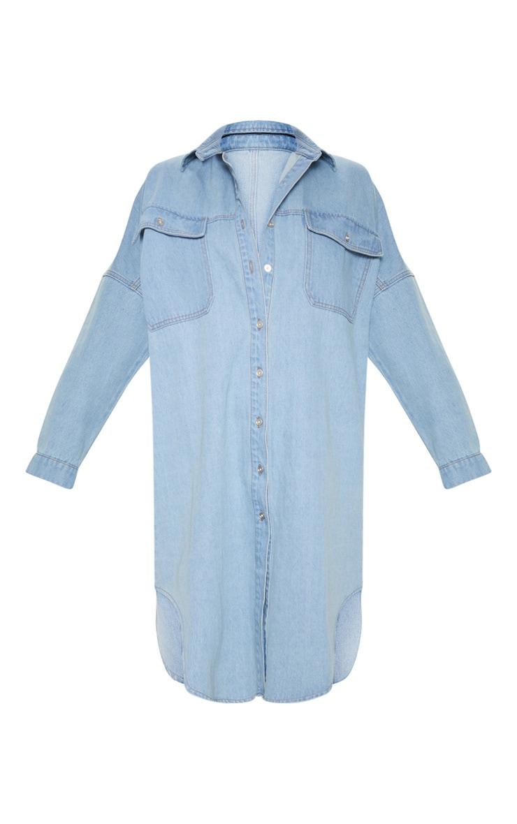 Light Wash Longline Oversized Denim Shirt Dress 3