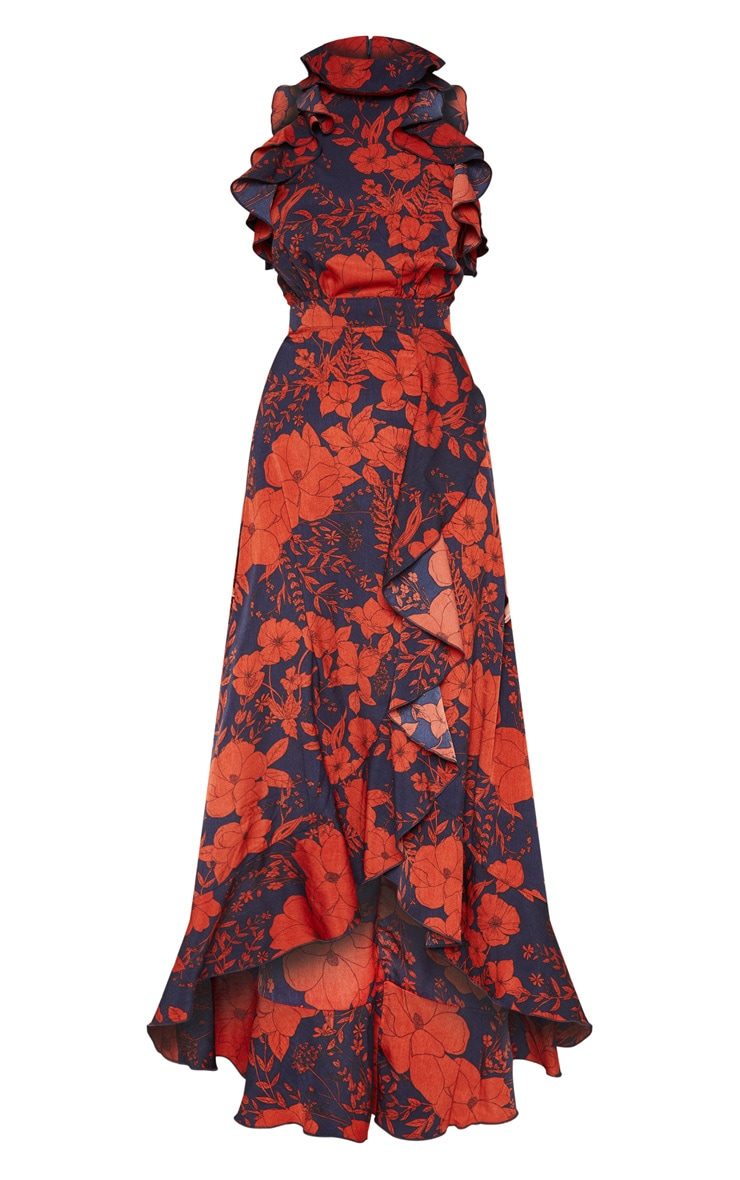 Navy Floral Print Frill Detail Wrap Maxi Dress 3