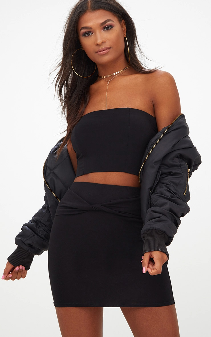 Black Twist Front Mini Skirt  1