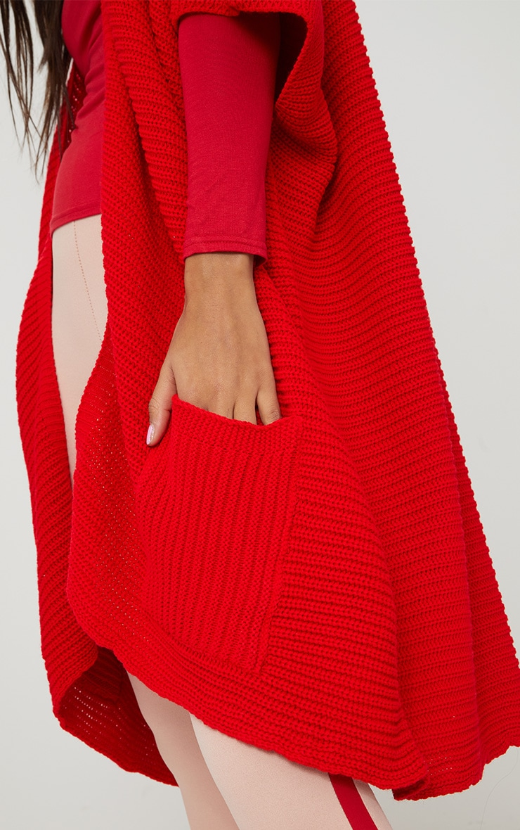 Red Chunky Knit 3/4 Sleeve Wrap Cardigan 5