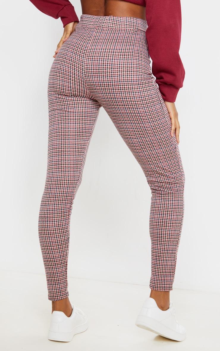Burgundy Checked Skinny Trouser 4