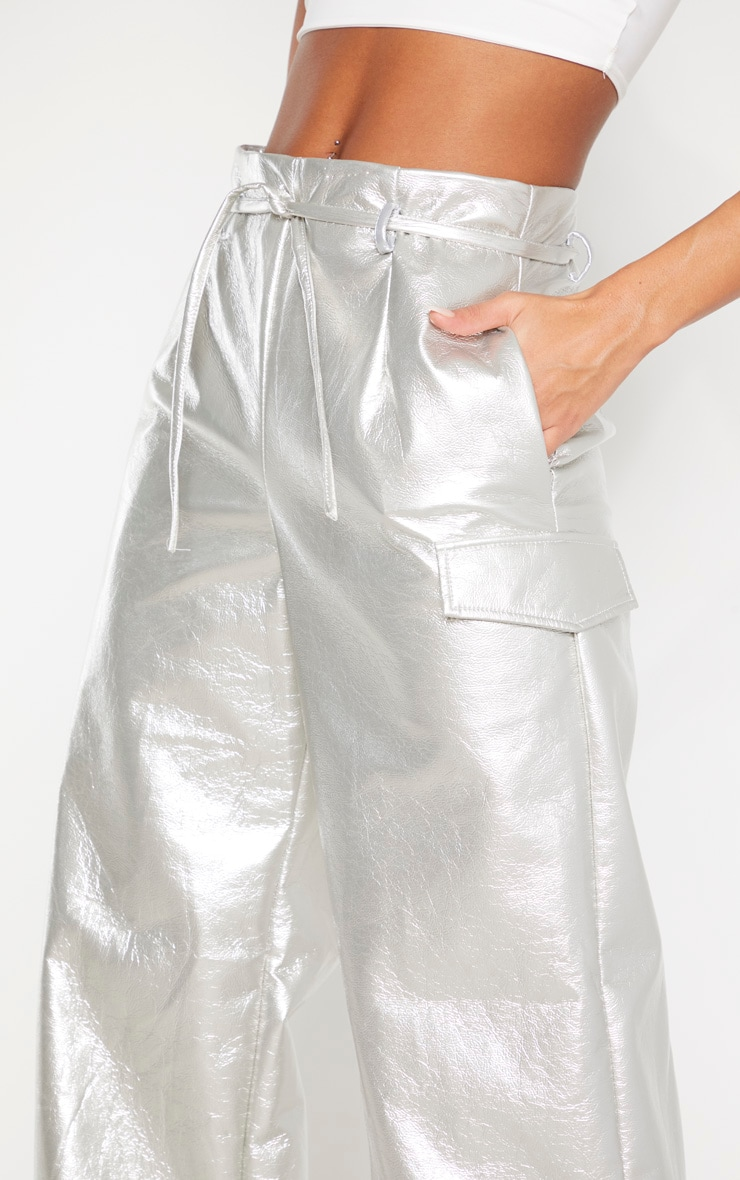 Silver Cracked Faux Leather Pocket Detail Wide Leg Pants 5