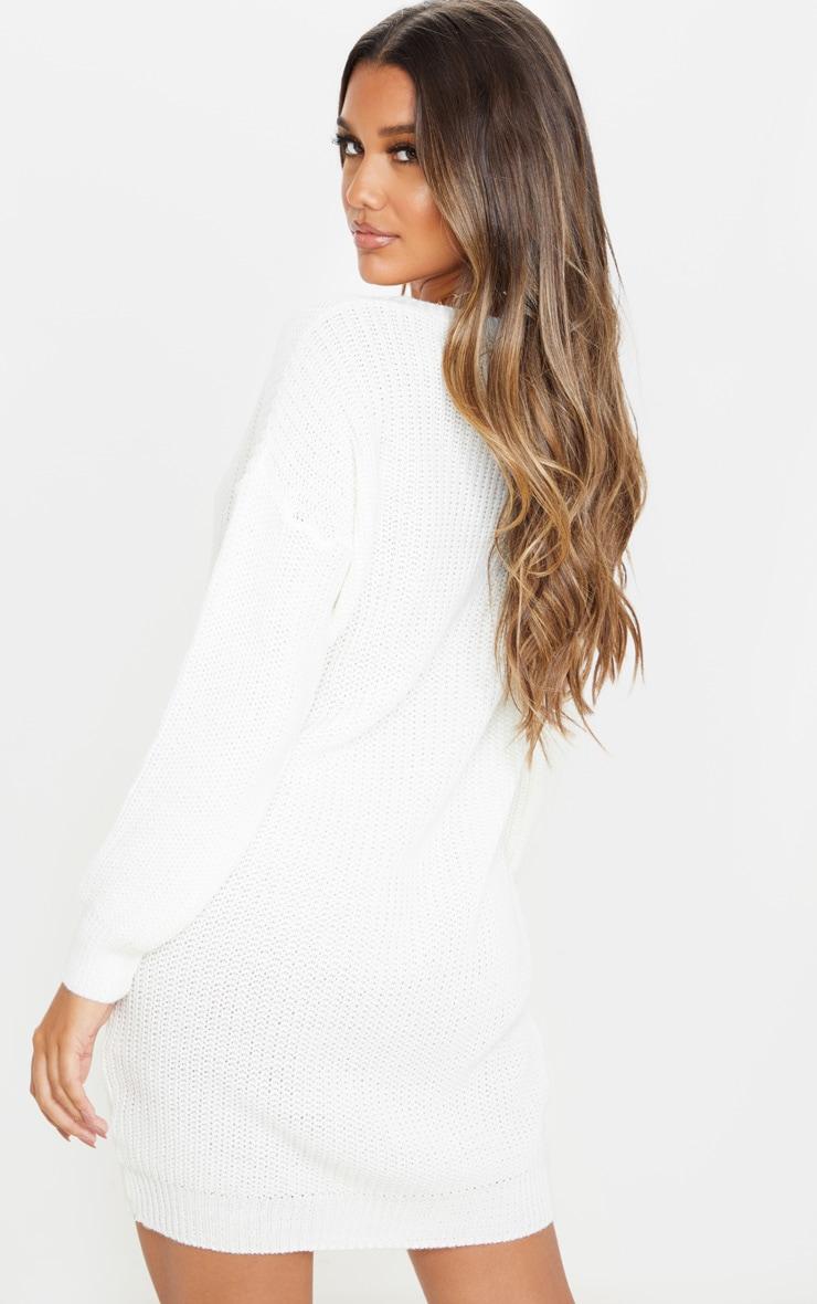 Ivory Basic Knit Sweater Dress 2