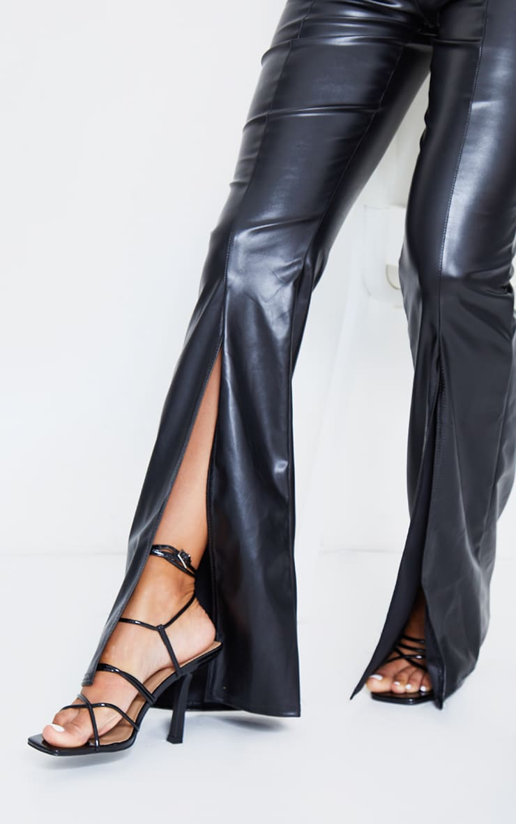 Black Faux Leather Split Front Wide Leg Pants 4
