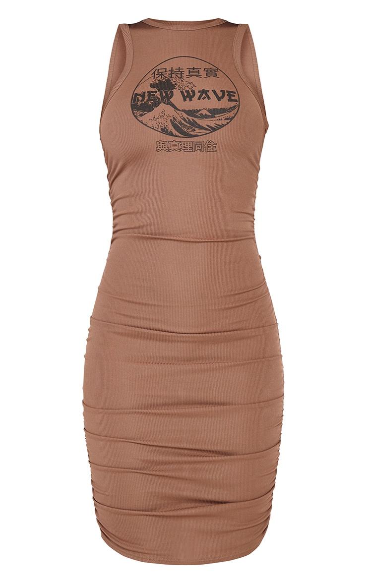Mocha New Wave Printed Ruched Rib Bodycon Dress 5