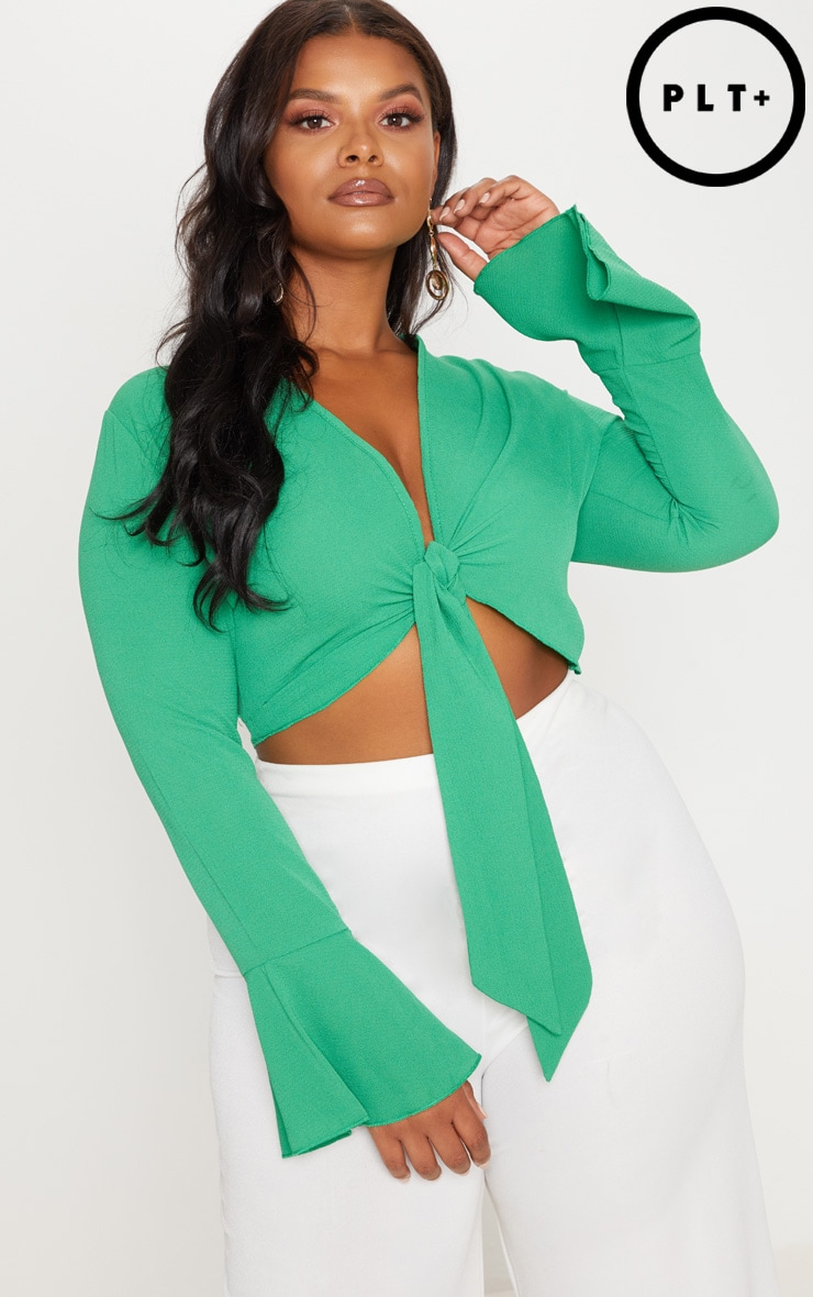 Plus Green Tie Front Frill Sleeve Blouse 1