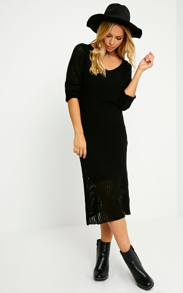 Dellar Black Knitted Long Line Dress 3