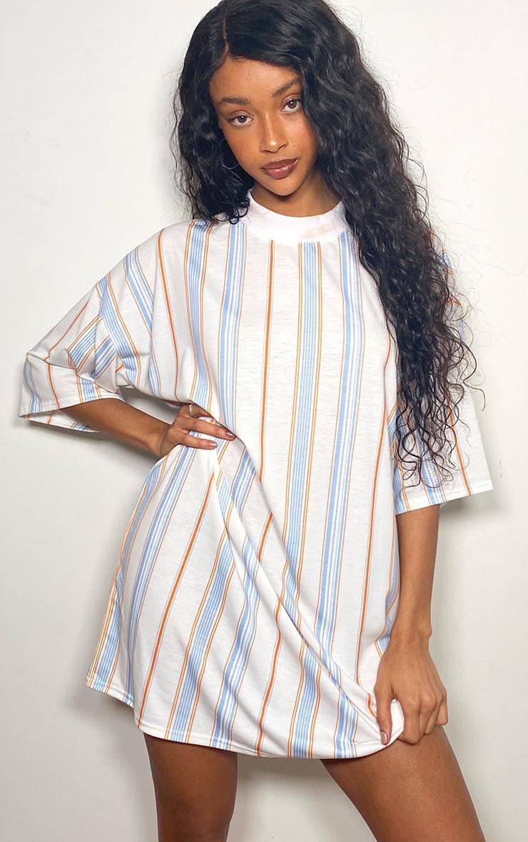 Orange Vertical Stripe T Shirt Dress 1