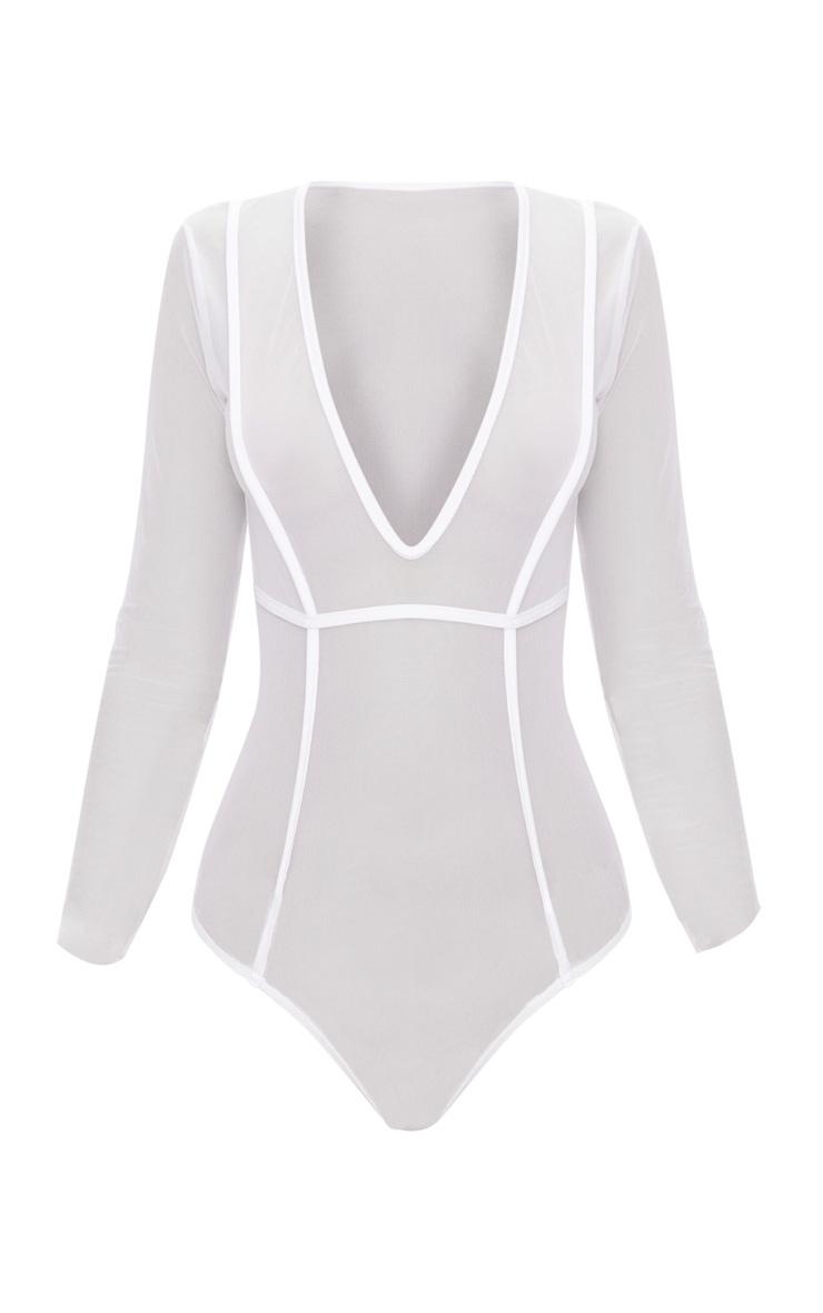 White Seam Detail Mesh Plunge Thong Bodysuit 3