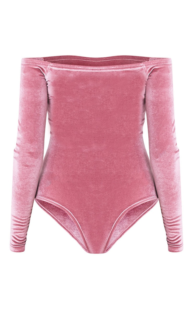 Willa body-string bardot manches longues en velours rose cendré 4