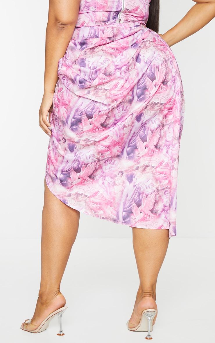 Plus Pink Rennaisance Print Ruched Side Midi Skirt 3