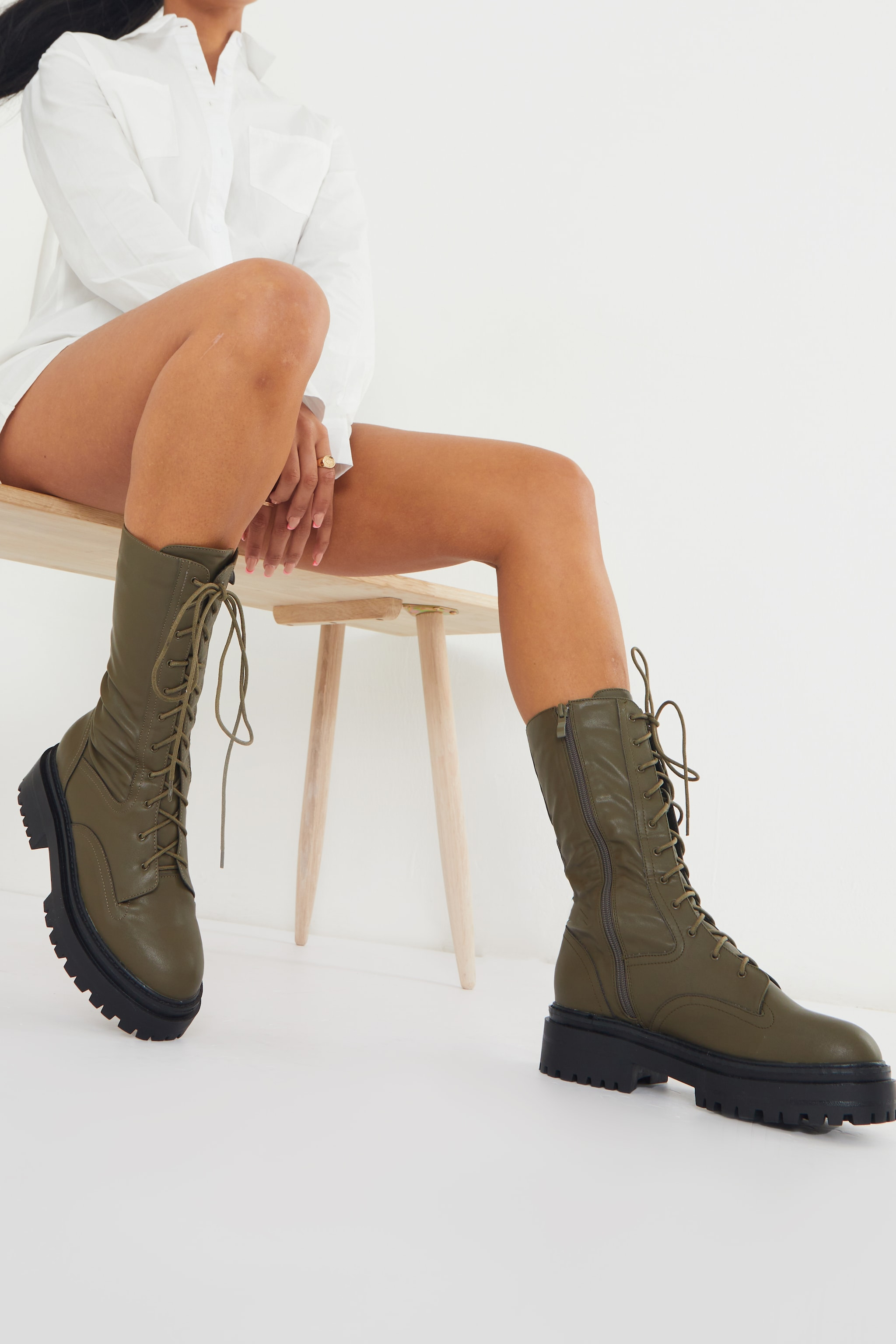 Khaki Calf High Lace Up Chunky Biker Boots 2