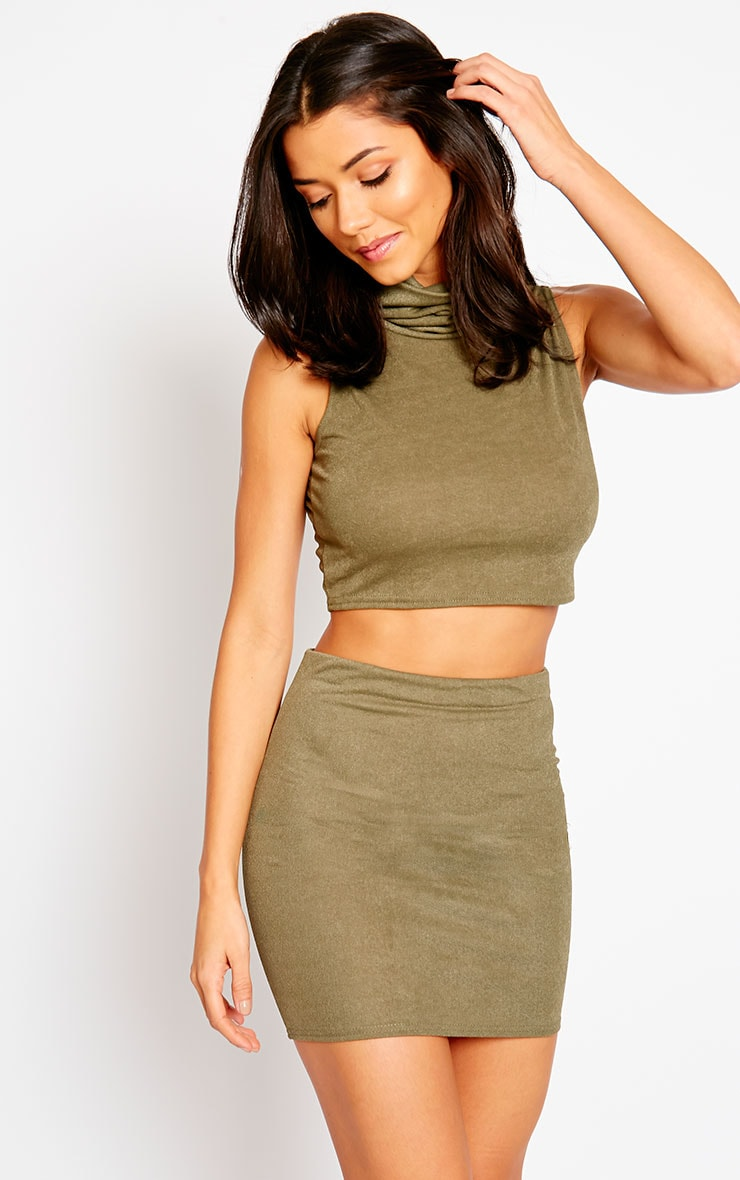 Joni Khaki Sleeveless Roll Neck Top 4