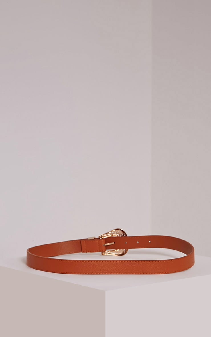 Madina Tan Gold Buckle Belt 3
