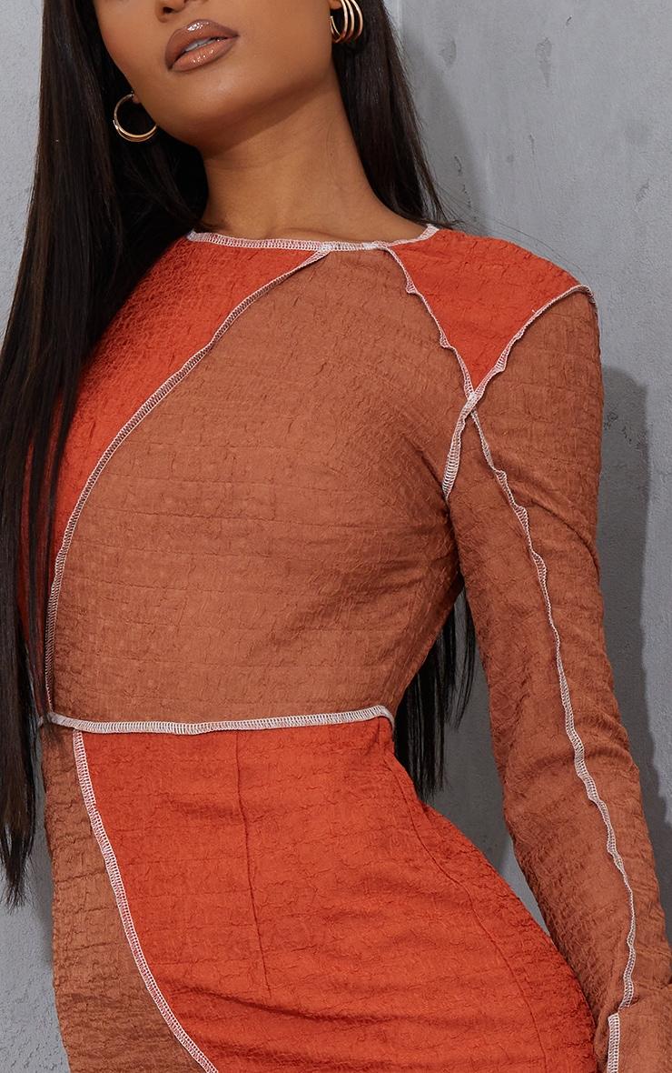 Chocolate Textured Contrast Block Exposed Seam Bodycon Dress 4
