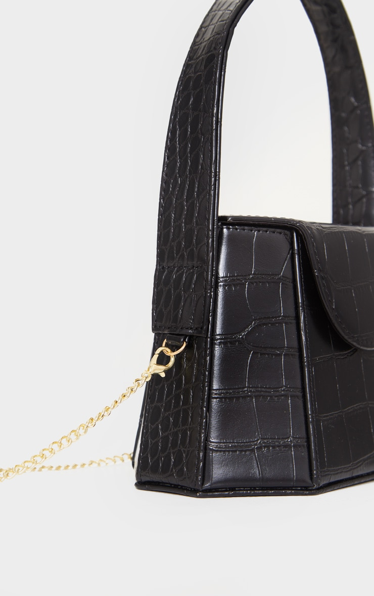 Black Croc Angular Structure Cross Body Bag 3