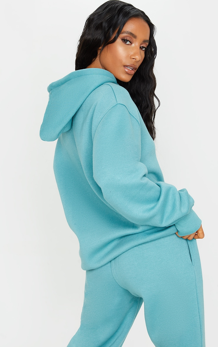 PRETTYLITTLETHING Turquoise Badge Oversized Hoodie 2