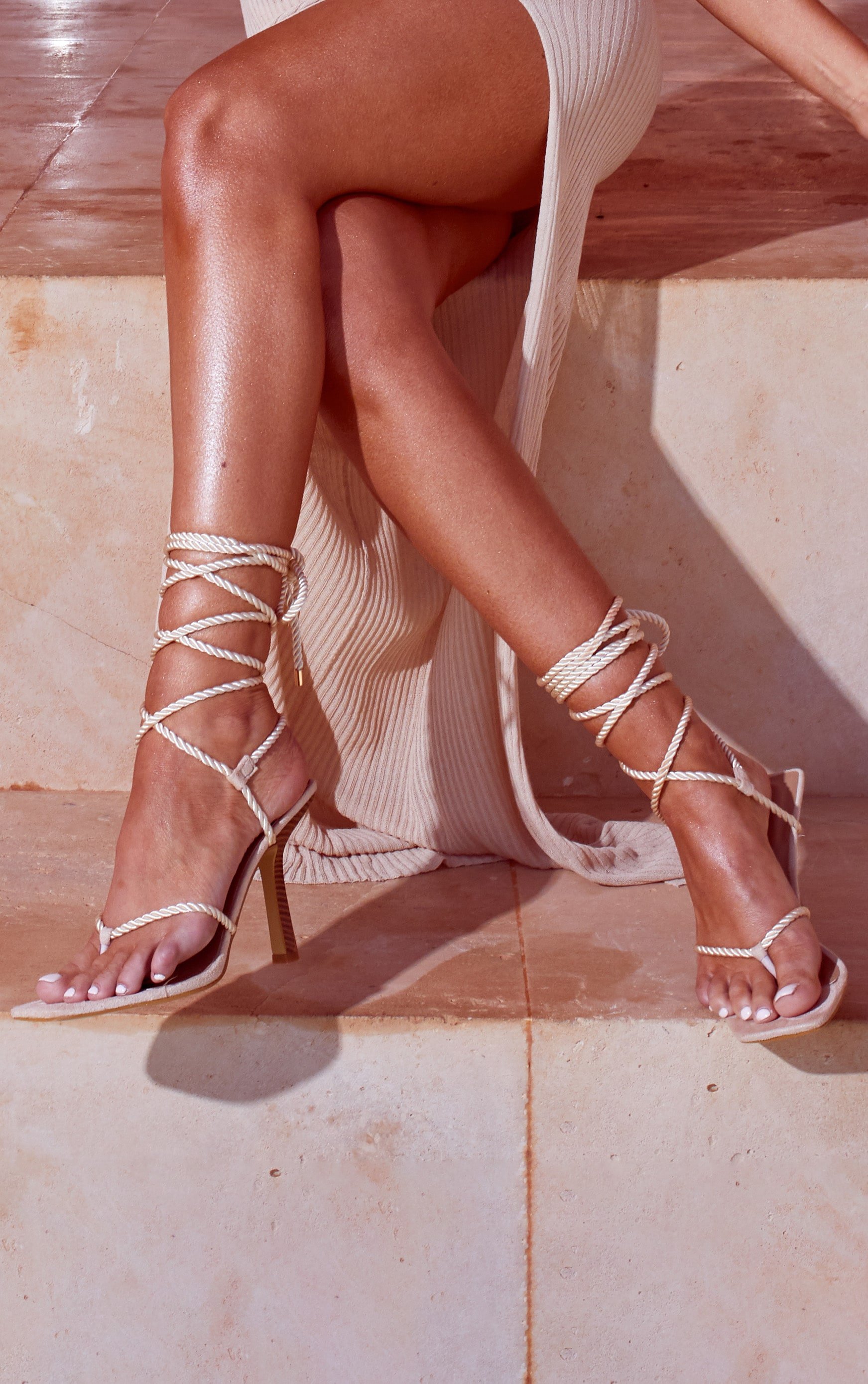Cream Rope Lace Up Wood Heeled Sandals 1