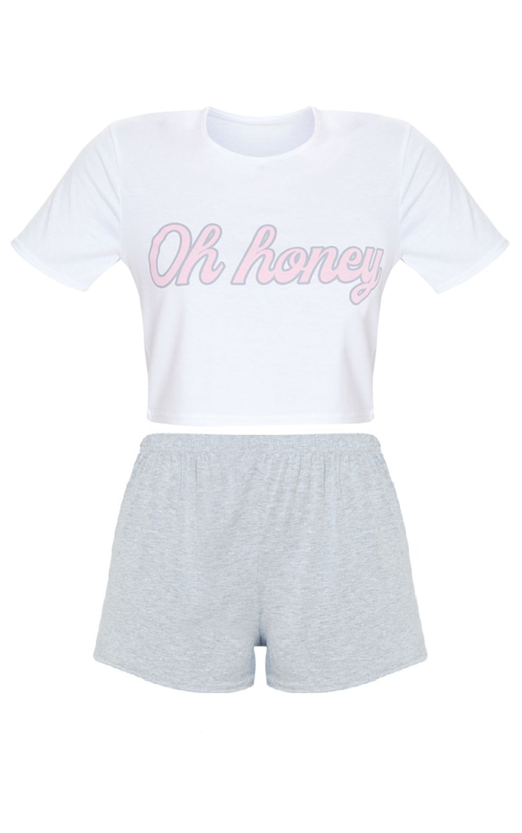 Ensemble de pyjama short gris à slogan Oh Honey 5
