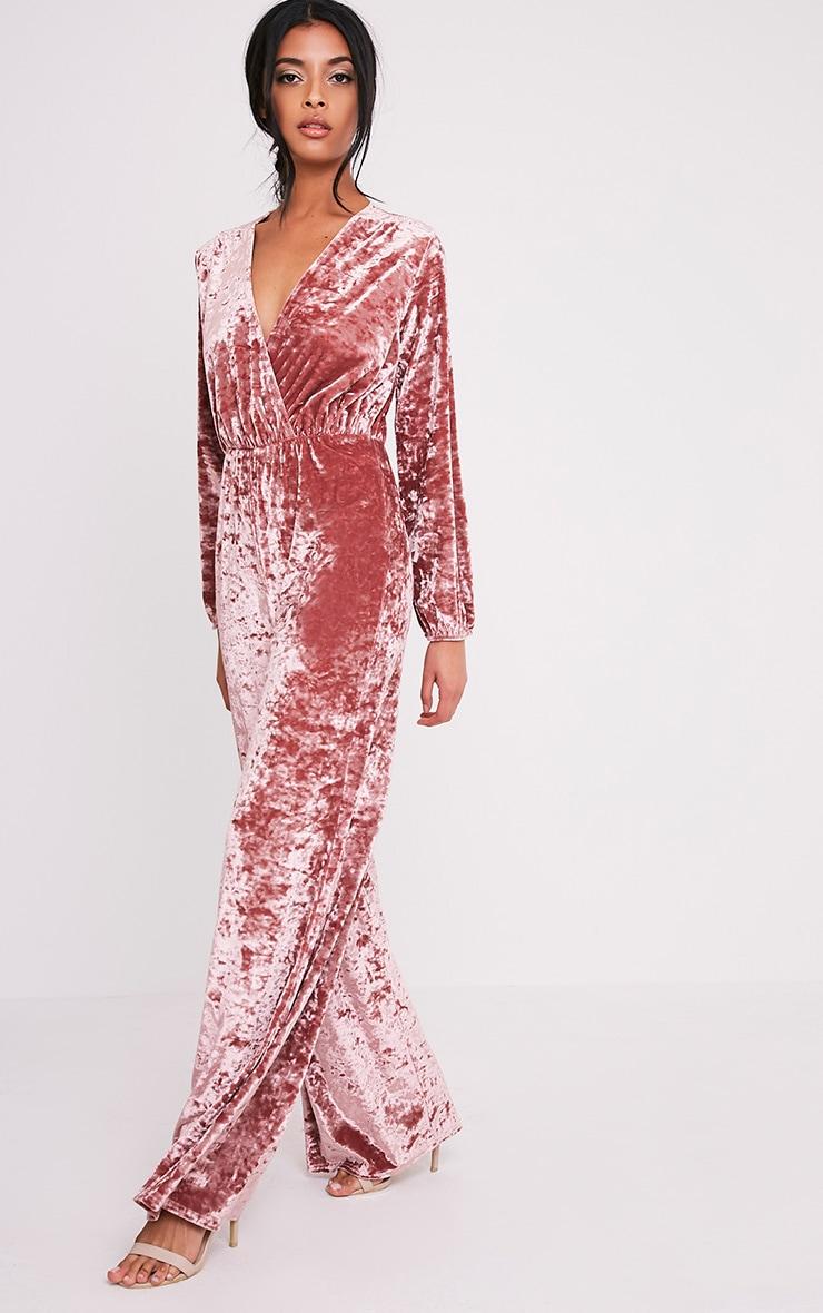 8973713866a Alana Dusty Pink Velvet Wrap Front Jumpsuit image 5