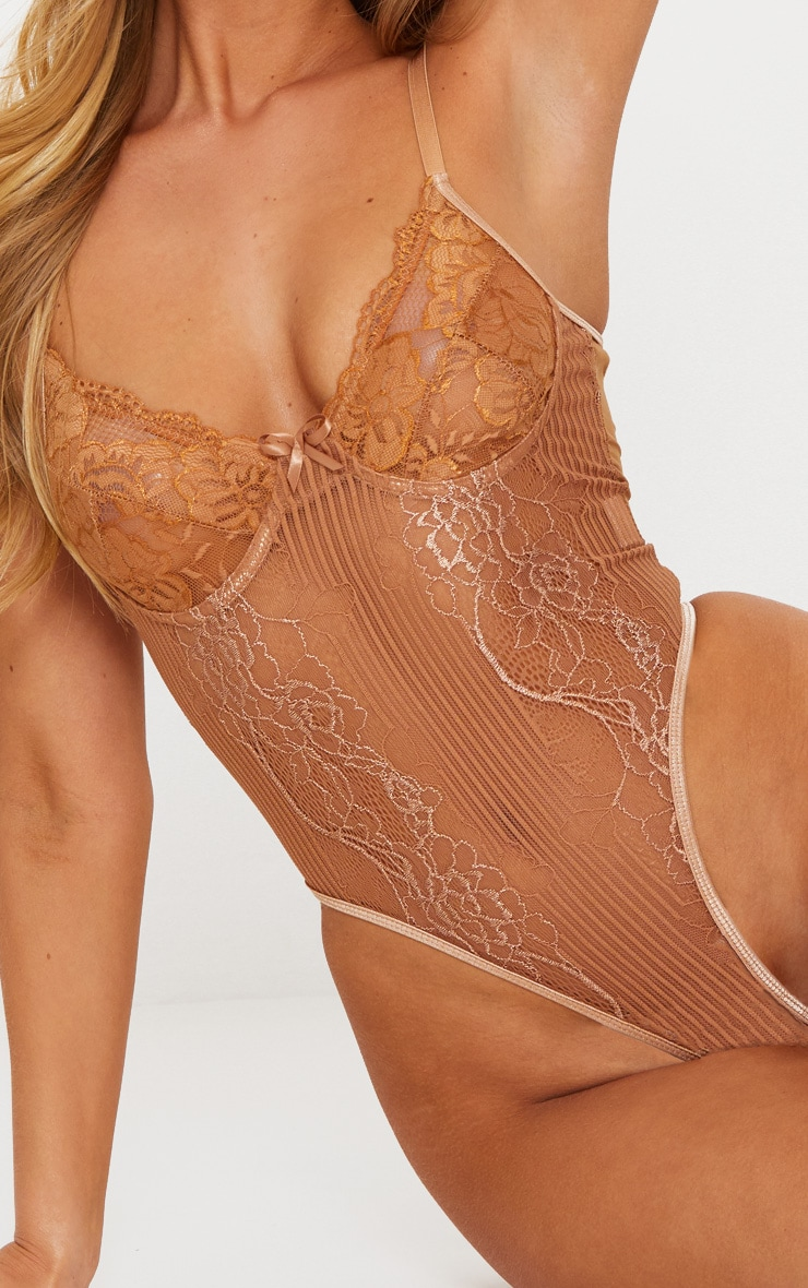 Mocha Lace Insert High Leg Cupped Body 6