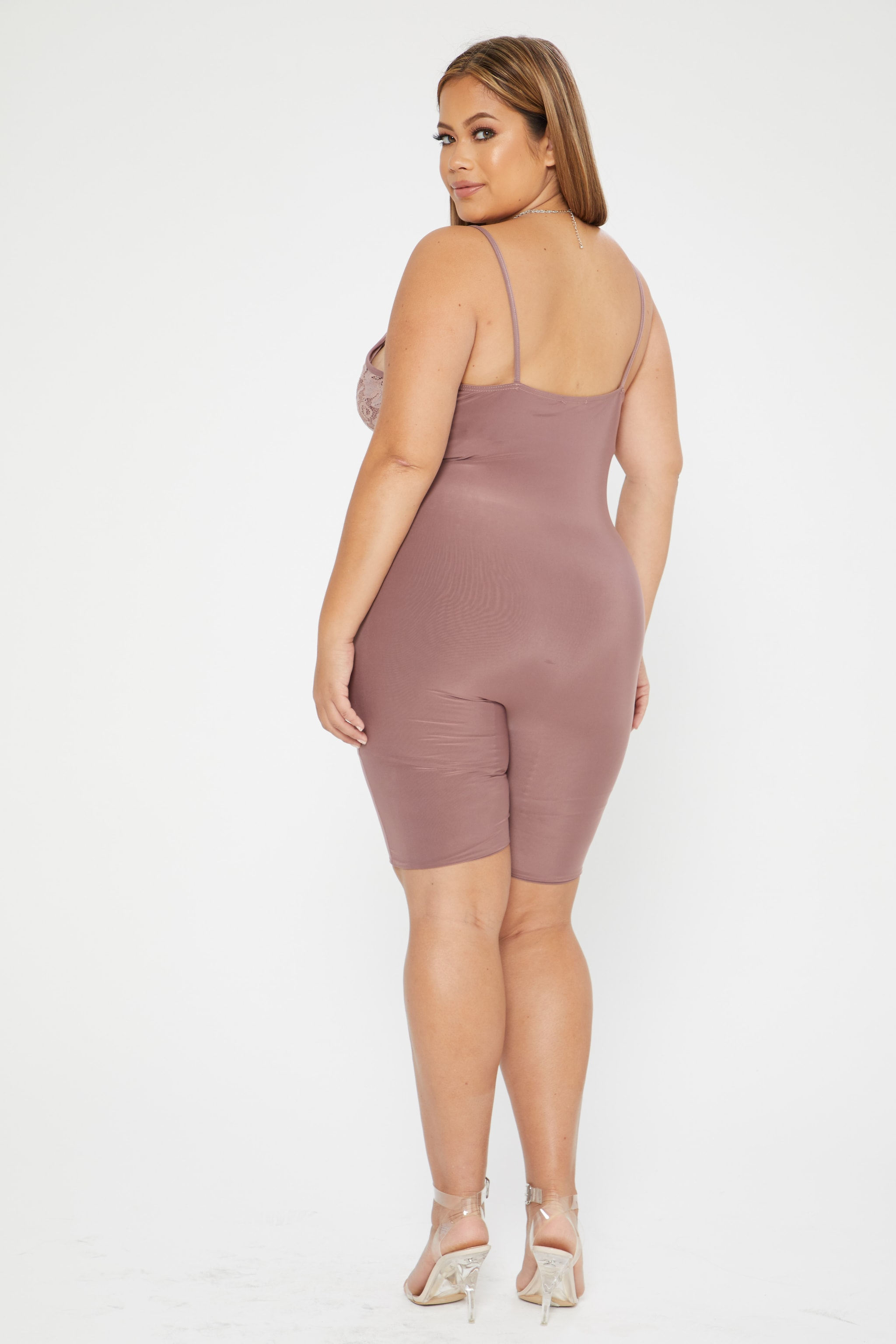 Plus Mauve Second Skin  Lace Trim Unitard 2