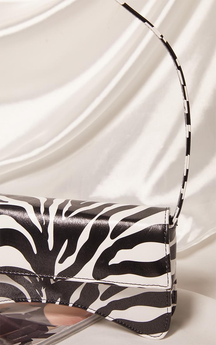 Zebra PU Flap Over Baguette Shoulder Bag 3