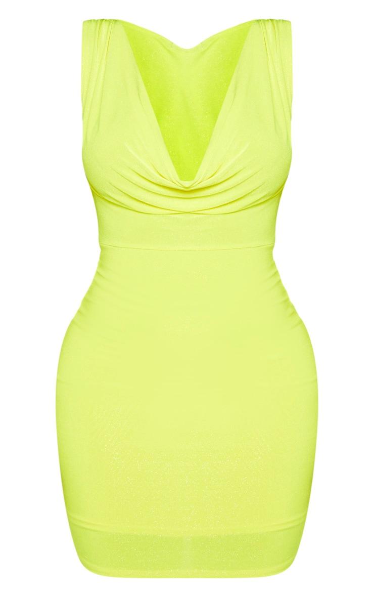 Shape Neon Yellow Glitter Cowl Neck Bodycon Dress 3