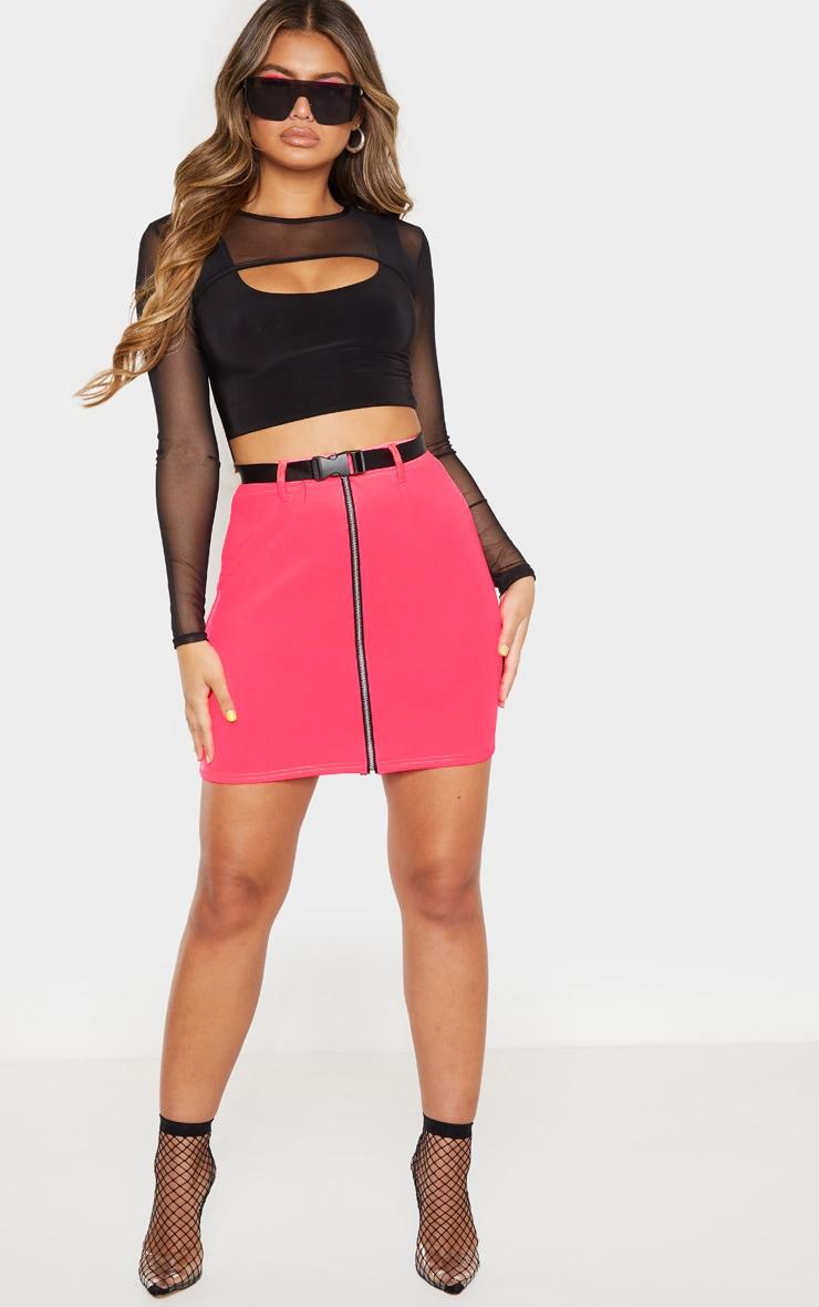 Neon Pink Zip Front Belted Mini Skirt  1