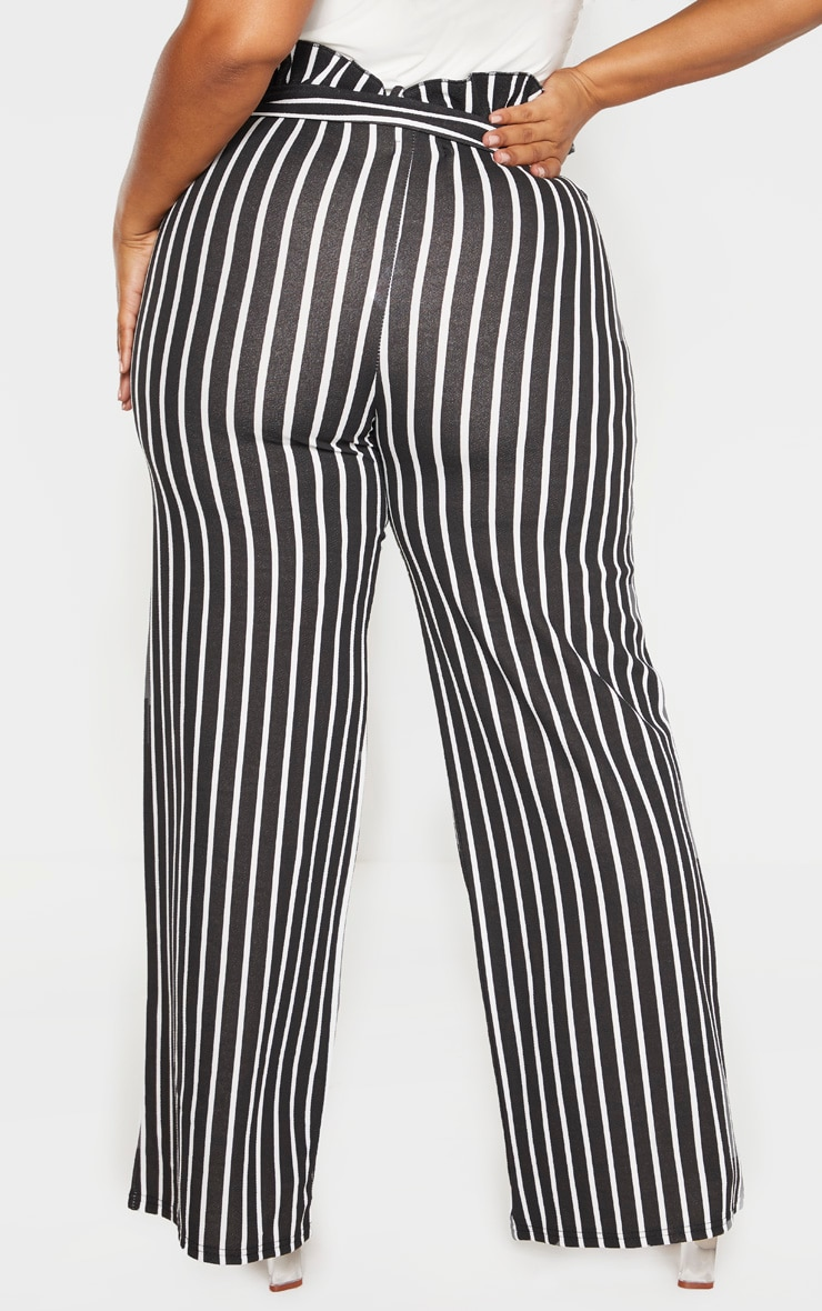 Plus Black Striped Paperbag High Waisted Wide Leg Pants 4