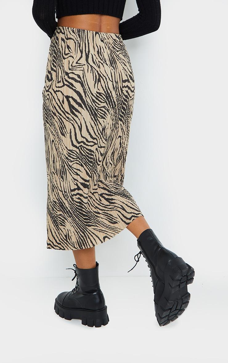 Zebra Print Plisse Printed Midi Skirt 3