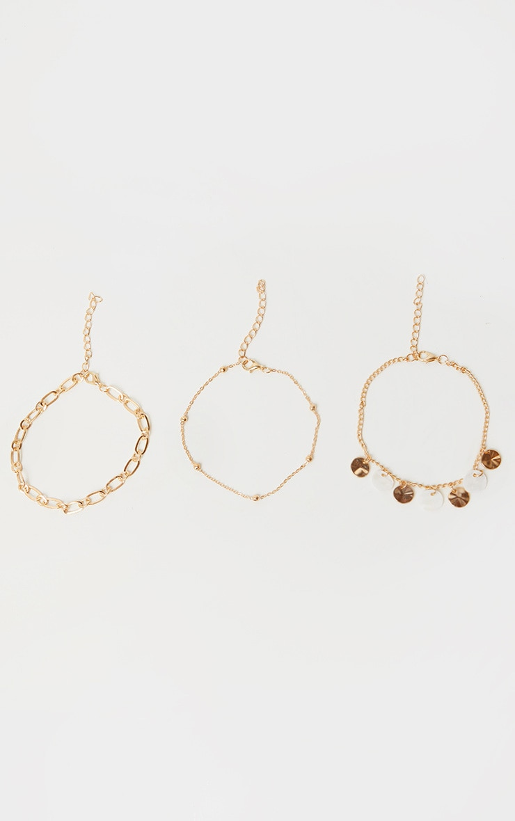 Gold Assorted Three Pack Anklets 1