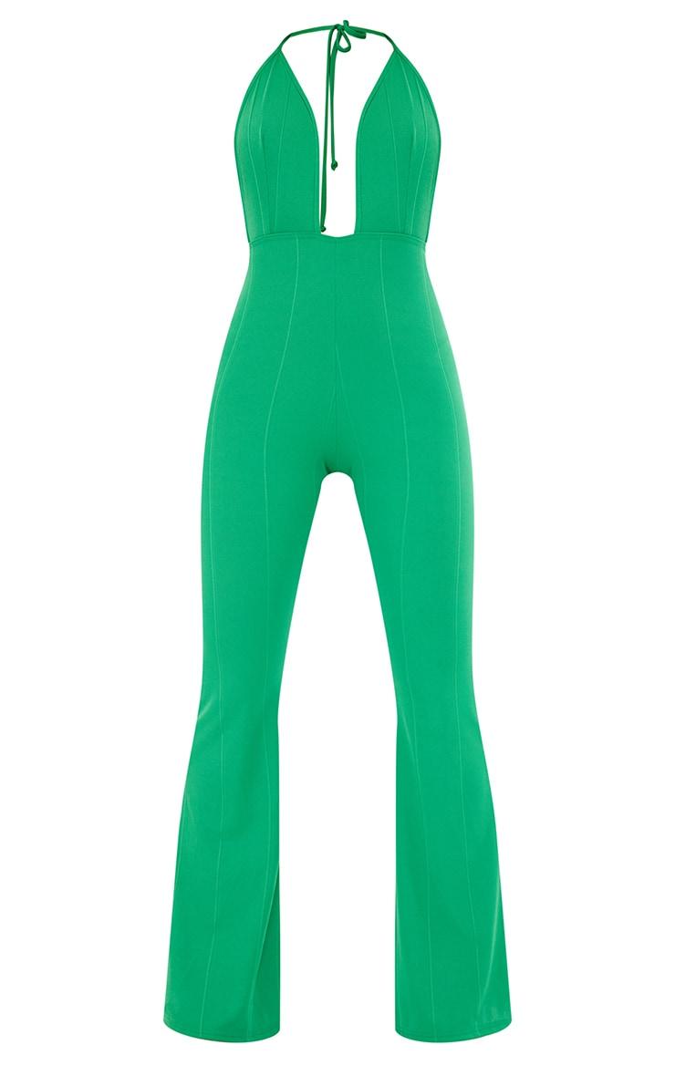 Green Bandage Plunge Flared Leg Jumpsuit 5